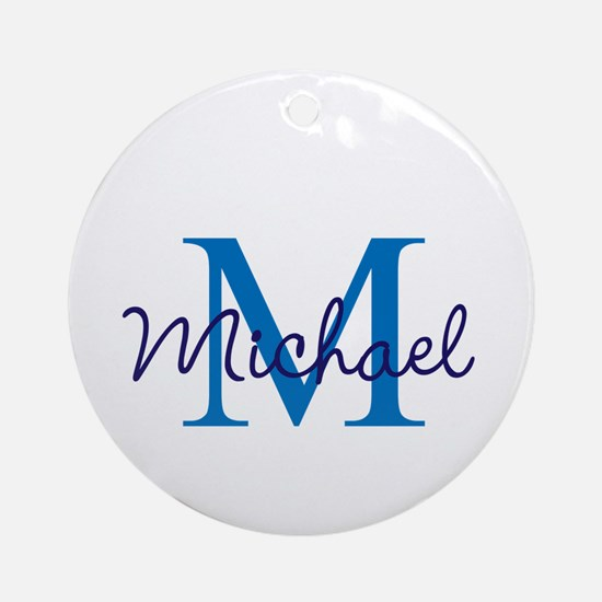 Personalize Initials and Name Round Ornament
