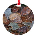 Frosty leaves round ornament