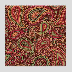 Red Mosaic Paisley Tile Coaster