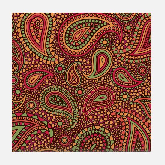 Red Mosaic Paisley Tile Coaster