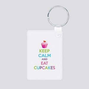 Keep calm and eat cupcakes Aluminum Photo Keychain