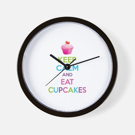 Keep calm and eat cupcakes Wall Clock