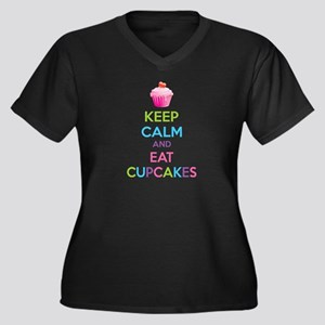 Keep calm and eat cupcakes Women's Plus Size V-Nec