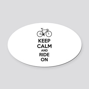 Keep calm and ride on Oval Car Magnet