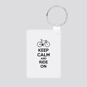 Keep calm and ride on Aluminum Photo Keychain