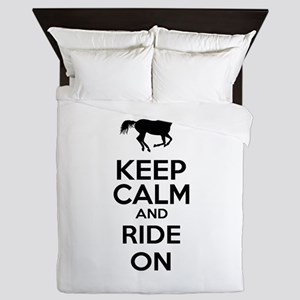 Keep calm and ride on Queen Duvet