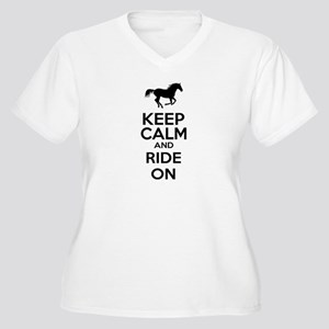 Keep calm and ride on Women's Plus Size V-Neck T-S