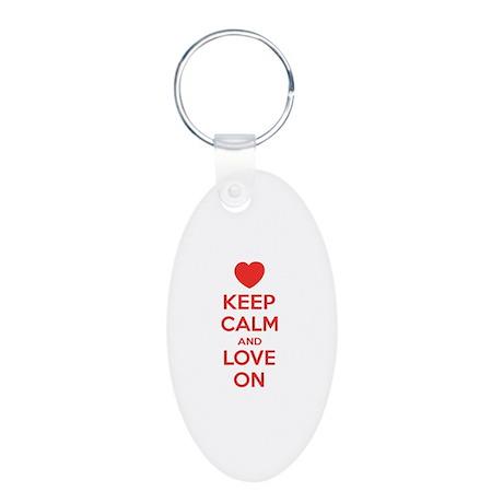 Keep calm and love on Aluminum Oval Keychain