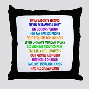 Pharmacist 12 days of Christmas Throw Pillow