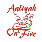 Aaliyah On Fire Square Car Magnet 3