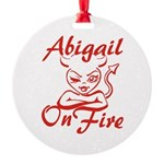 Abigail On Fire Round Ornament