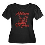 Addison On Fire Women's Plus Size Scoop Neck Dark