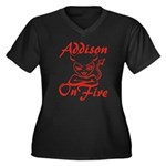 Addison On Fire Women's Plus Size V-Neck Dark T-Sh