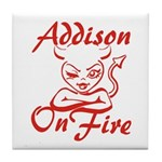 Addison On Fire Tile Coaster