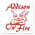 Addison On Fire Square Car Magnet 3