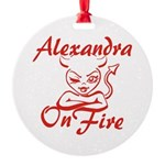 Alexandra On Fire Round Ornament
