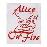 Alice On Fire Throw Blanket