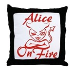 Alice On Fire Throw Pillow