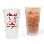 Alicia On Fire Drinking Glass