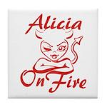 Alicia On Fire Tile Coaster