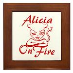 Alicia On Fire Framed Tile