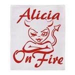 Alicia On Fire Throw Blanket