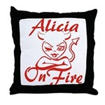 Alicia On Fire Throw Pillow