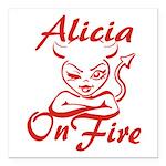 Alicia On Fire Square Car Magnet 3