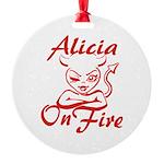 Alicia On Fire Round Ornament