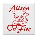 Alison On Fire Tile Coaster