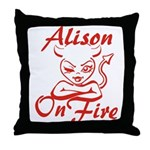 Alison On Fire Throw Pillow