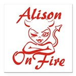 Alison On Fire Square Car Magnet 3