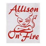 Allison On Fire Throw Blanket