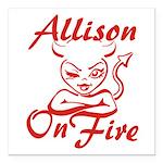 Allison On Fire Square Car Magnet 3