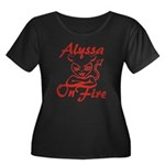 Alyssa On Fire Women's Plus Size Scoop Neck Dark T