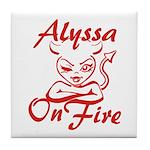 Alyssa On Fire Tile Coaster