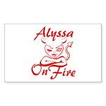 Alyssa On Fire Sticker (Rectangle)