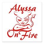 Alyssa On Fire Square Car Magnet 3