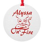 Alyssa On Fire Round Ornament