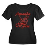 Amanda On Fire Women's Plus Size Scoop Neck Dark T