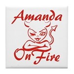 Amanda On Fire Tile Coaster