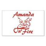 Amanda On Fire Sticker (Rectangle)