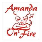 Amanda On Fire Square Car Magnet 3