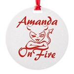 Amanda On Fire Round Ornament