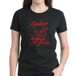 Amber On Fire Women's Dark T-Shirt