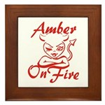Amber On Fire Framed Tile
