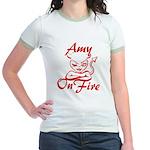 Amy On Fire Jr. Ringer T-Shirt