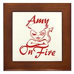 Amy On Fire Framed Tile