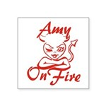 Amy On Fire Square Sticker 3