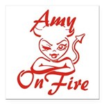 Amy On Fire Square Car Magnet 3